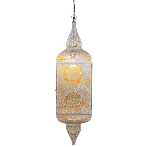 """35"""" White and Gold Moroccan Style Hanging Lantern Ceiling Light Fixture - IMAGE 1"""