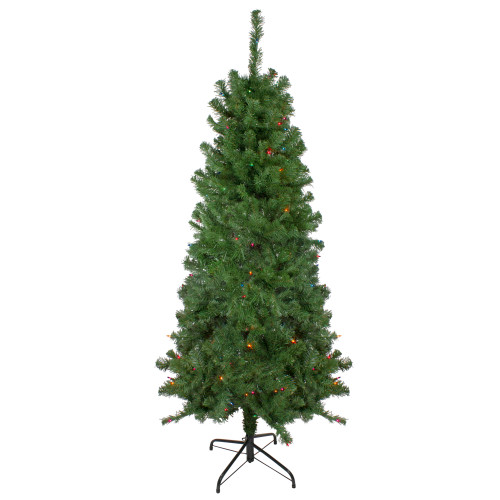 6' Pre-Lit Alberta Pine Slim Artificial Christmas Tree - Multi Lights - IMAGE 1
