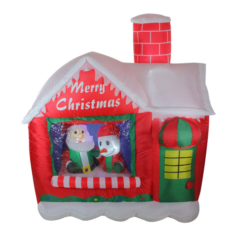 """66"""" Pre-Lit Red and White Inflatable Santa's Workshop Outdoor Christmas Yard Decor - IMAGE 1"""