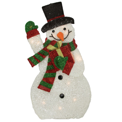 """32"""" White and Red Waving Snowman Outdoor Christmas Yard Decor - IMAGE 1"""
