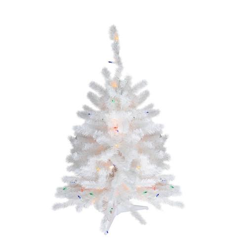 3' Pre-Lit Snow White Artificial Christmas Tree - Multi Lights - IMAGE 1