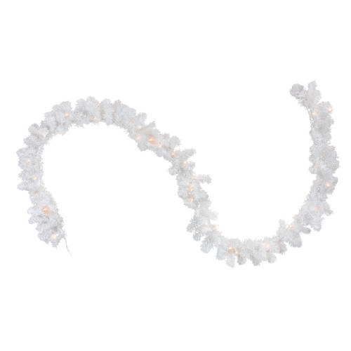 """50' x 10"""" Pre-Lit Commercial Length Snow White Christmas Garland - Clear Lights - IMAGE 1"""