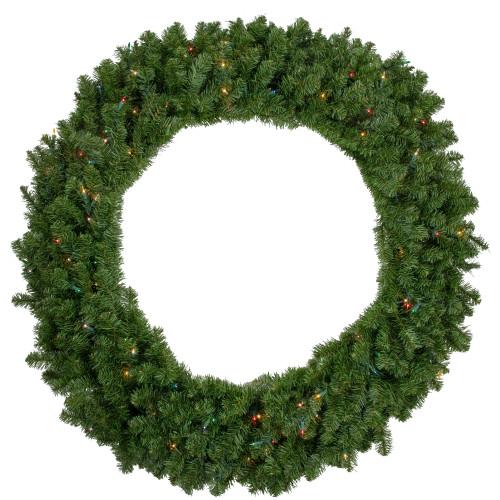 Pre-Lit Canadian Pine Artificial Christmas Wreath - 48-Inch, Multicolor Lights - IMAGE 1