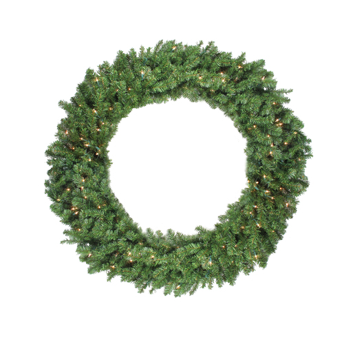 Pre-Lit Canadian Pine Artificial Christmas Wreath - 48-Inch, Clear Lights - IMAGE 1