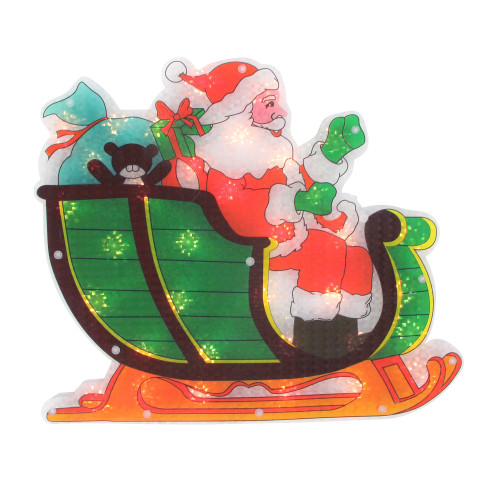 "17"" Pre-Lit Green and Red Holographic Santa in Sleigh Christmas Window Silhouette Decoration - IMAGE 1"