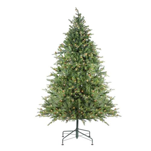 7.5' Pre-Lit Full Hunter Fir Artificial Christmas Tree - Clear Lights - IMAGE 1