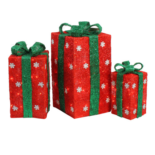 """Set of 3 Red and Green Lighted Gift Boxes with Bows Outdoor Christmas Decorations 18"""" - IMAGE 1"""