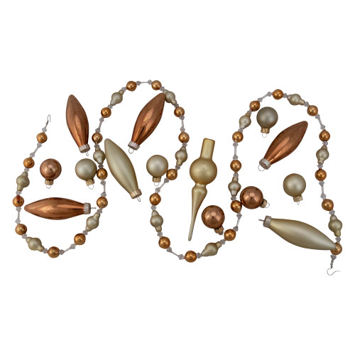 16ct Champagne Gold Christmas Beaded Garland and Ornament Set 4.5' - IMAGE 1