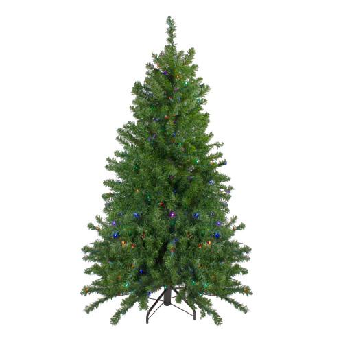 5' Pre-Lit LED Medium Canadian Pine Artificial Christmas Tree - Multicolored Lights - IMAGE 1