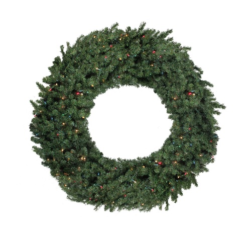 6' Pre-Lit Commercial Canadian Pine Artificial Christmas Wreath - Multi Lights - IMAGE 1