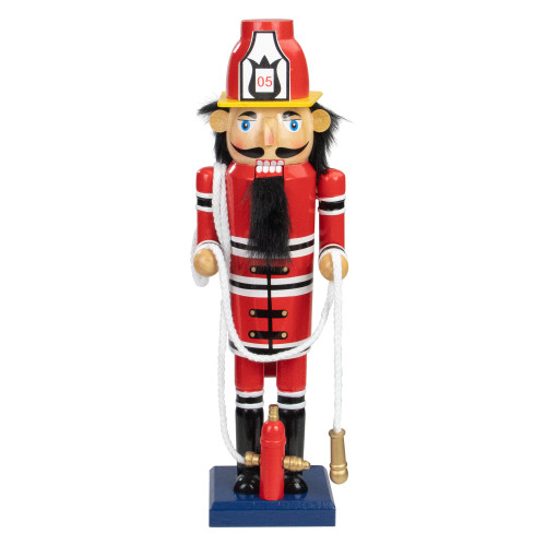 14 Red Wooden Fireman with Hose Christmas Nutcracker - IMAGE 1