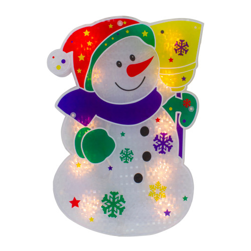 "12.5"" Lighted White Snowman Christmas Window Silhouette Decor - IMAGE 1"