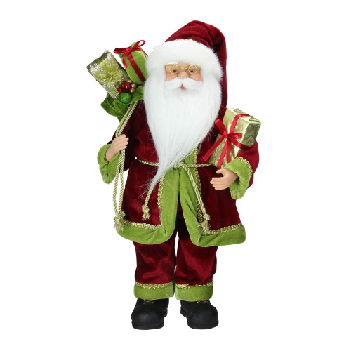 """16"""" Red and Green Grand Imperial Santa Claus with Gift Bag Christmas Tabletop Figurine - IMAGE 1"""