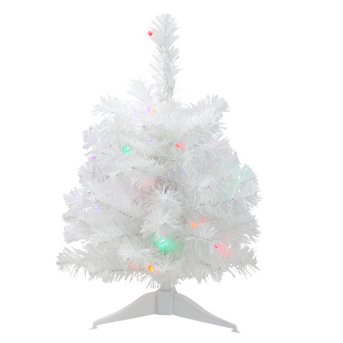 1.5' Pre-Lit Frosted Artificial Christmas Tree - Multicolor Lights - IMAGE 1