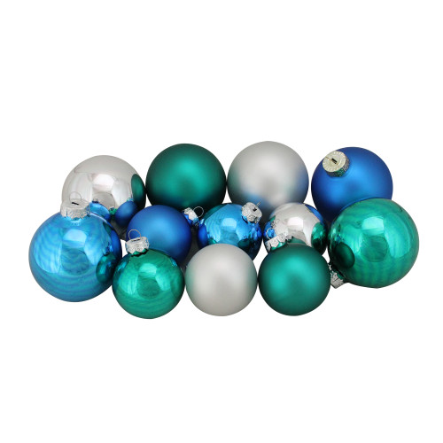 """96ct Blue and Silver 2-Finish Glass Christmas Ball Ornaments 3.25"""" (80mm) - IMAGE 1"""