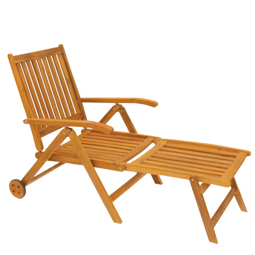 Acacia Wood Outdoor Patio Chaise Lounge Chair - IMAGE 1