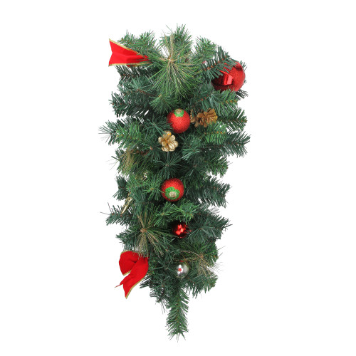 """24"""" Pre-Decorated Ball Ornaments with Bows Artificial Christmas Teardrop Swag - Unlit - IMAGE 1"""