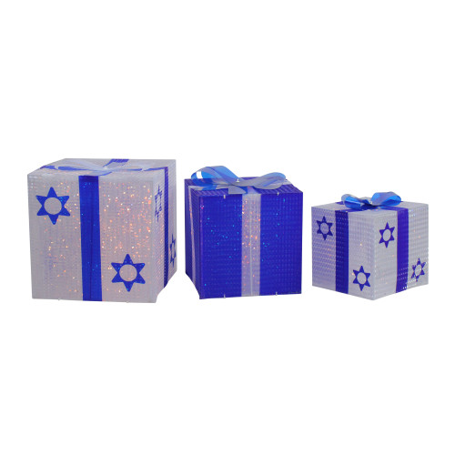 """3pc White and Blue Shimmering Lighted Hanukkah Gift Box 12"""" - IMAGE 1"""