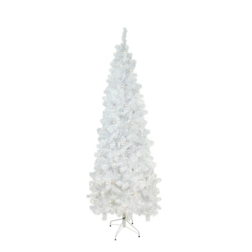 6.5' Pre-Lit Pencil White Winston Pine Artificial Christmas Tree - Clear Lights - IMAGE 1