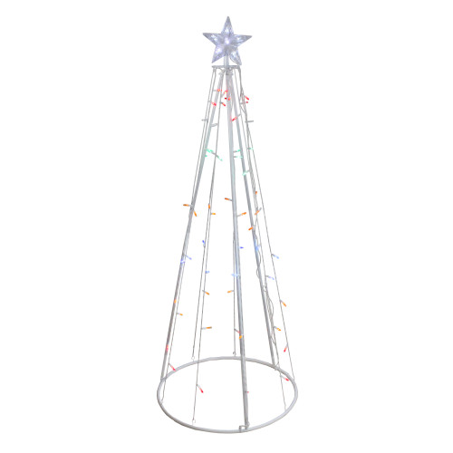 5' Multi-Color LED Lighted Cone Christmas Tree Outdoor Decor - IMAGE 1