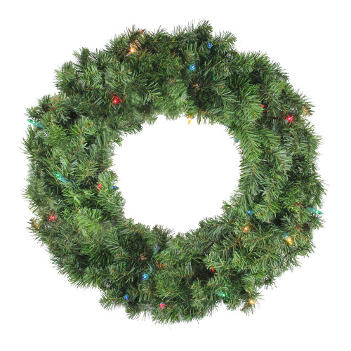 "24"" Pre-Lit Canadian Pine Artificial Christmas Wreath - Multi Lights - IMAGE 1"