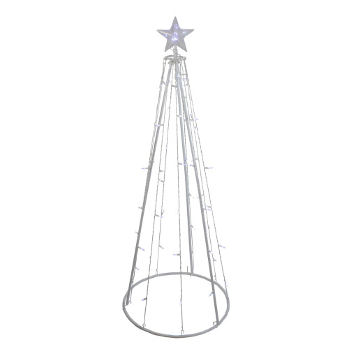 5' Pure White LED Lighted Cone Tree Outdoor Christmas Decoration - IMAGE 1