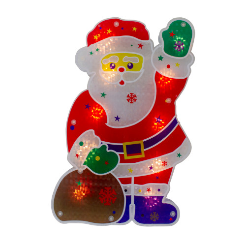 """13"""" Red and White Lighted Holographic Santa Claus Christmas Window Silhouette Decoration - IMAGE 1"""