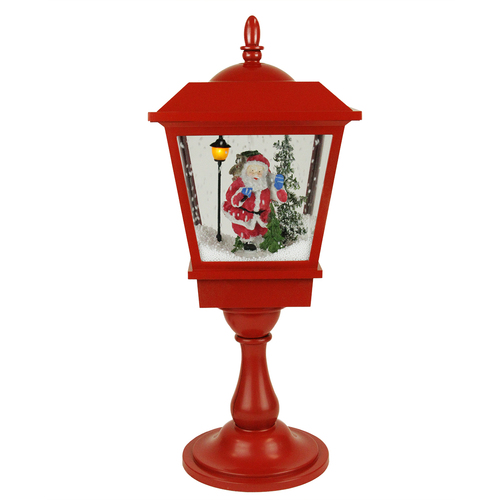 """25.25"""" Lighted Red Musical Santa Claus Snowing Table Top Christmas Street Lamp - IMAGE 1"""