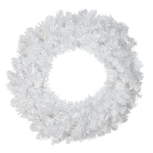 """30"""" Pre-Lit LED White Pine Artificial Christmas Wreath - Clear Lights - IMAGE 1"""