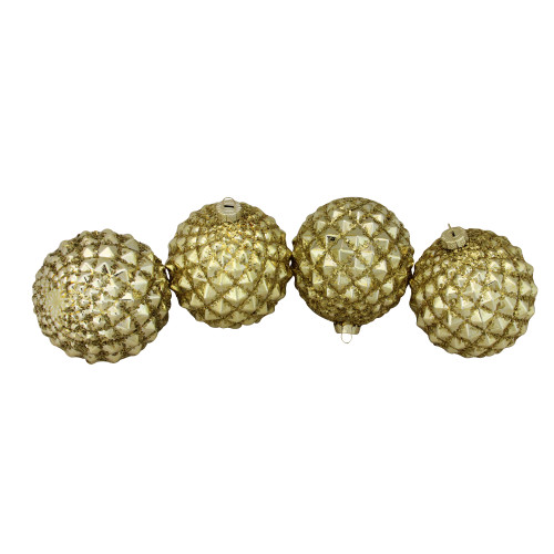 "4ct Gold Glitter Flake Christmas Glass Ball Ornaments 4"" (100mm) - IMAGE 1"