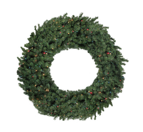 Pre-Lit Commercial Canadian Pine Artificial Christmas Wreath - 5-ft, Multi Lights - IMAGE 1