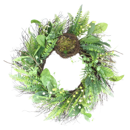 Green and Brown Foliage Artificial Spring Wreath with Nest - 24-Inch, Unlit - IMAGE 1