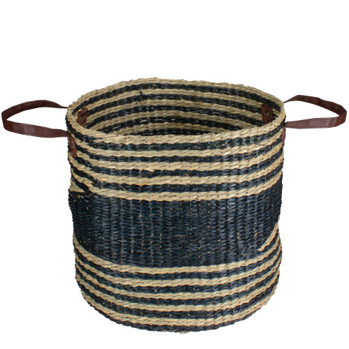 15 Beige and Black Woven Seagrass Basket with Handles - IMAGE 1