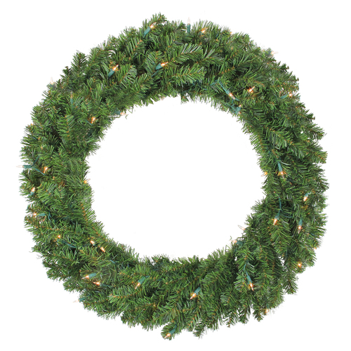 """36"""" Pre-Lit Canadian Pine Artificial Christmas Wreath - Clear Lights - IMAGE 1"""