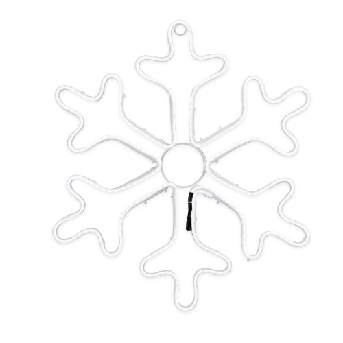 """18"""" Neon Style LED Lighted White Snowflake Christmas Window Silhouette Decoration - IMAGE 1"""
