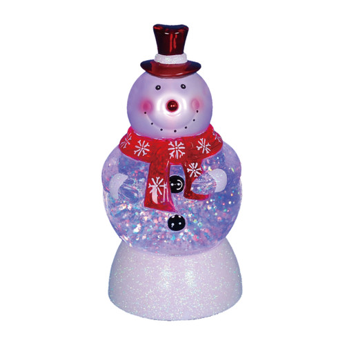 """7.5"""" LED Lighted Color-Changing Snowman with Top Hap Snow Globe Christmas Figure - IMAGE 1"""