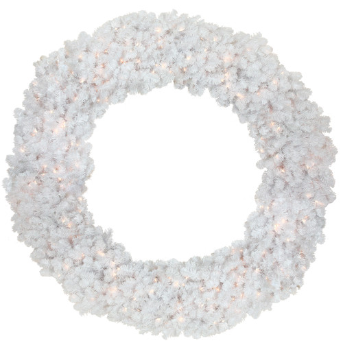 6' Pre-Lit White Commercial Canadian Pine Artificial Christmas Wreath - Clear Lights - IMAGE 1