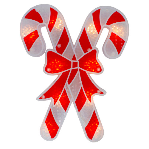 "12"" Lighted Red and White Holographic Candy Cane Christmas Window Silhouette Decor - IMAGE 1"