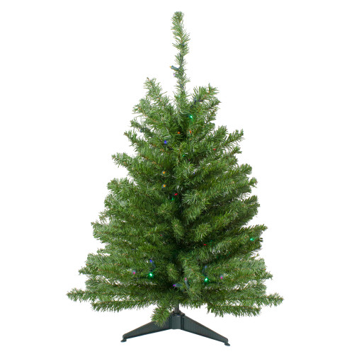 3' Pre-Lit LED Medium Canadian Pine Artificial Christmas Tree - Multicolor Lights - IMAGE 1