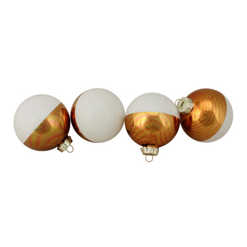 """4ct White and Gold Shiny Glass Christmas Ball Ornaments 3.25"""" (80mm) - IMAGE 1"""