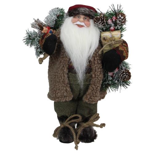 "12"" Brown Standing Santa Claus Christmas Figurine - IMAGE 1"
