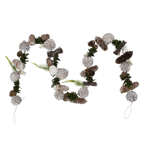 5' Frosted Pine Cone and White Rose Artificial Christmas Garland - Unlit - IMAGE 1