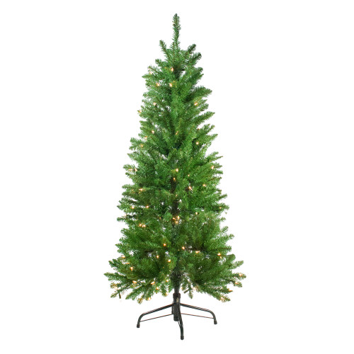 4.5' Pre-Lit White River Fir Artificial Pencil Christmas Tree - Clear Lights - IMAGE 1