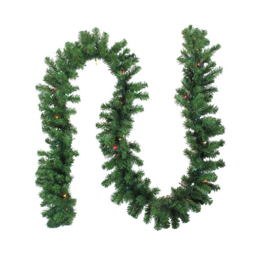 "9' x 10"" Pre-Lit Oak Creek Pine Artificial Christmas Garland - Multi Lights - IMAGE 1"