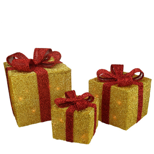 Set of 3 Gold and Red Gift Boxes with Bows Lighted Christmas Outdoor Decorations - IMAGE 1