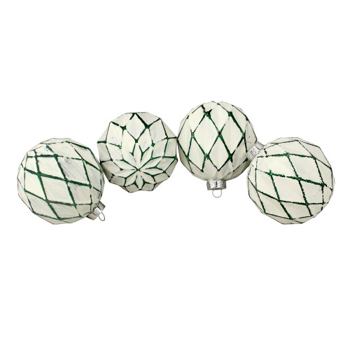"""4ct Emerald Green and White Matte Christmas Ball Ornaments 4"""" (100mm) - IMAGE 1"""