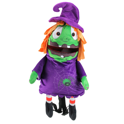 """23"""" Purple and Green Witch Unisex Child Trick or Treat Halloween Bag Costume Accessory - IMAGE 1"""