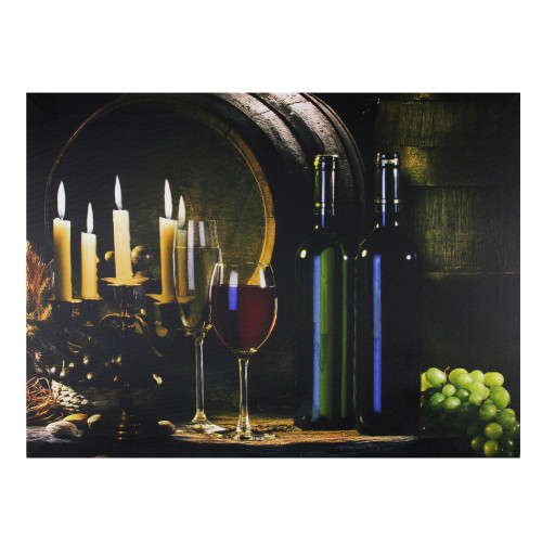 """15.75"""" LED Lighted Flickering Wine and Candles Canvas Wall Art - IMAGE 1"""