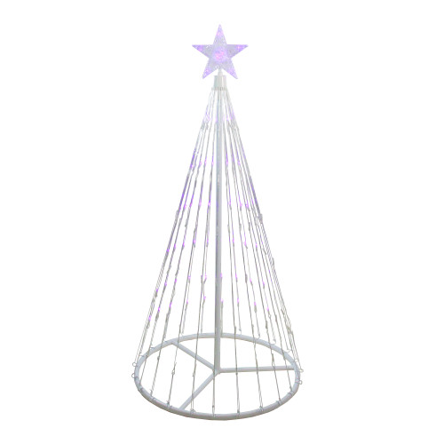 4' Purple LED Lighted Show Cone Christmas Tree Outdoor Decor - IMAGE 1