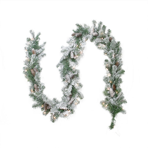 "9' x 8"" Pre-lit Flocked Victoria Pine Artificial Christmas Garland - Clear Lights - IMAGE 1"